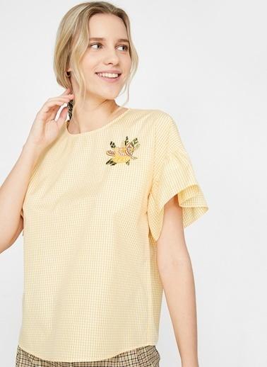 Koton Koton Nakış Detaylı Sarı Kadın Bluz Sarı